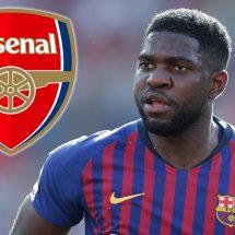 Samuel Umtiti Tertawakan Rumor Transfer ke Arsenal